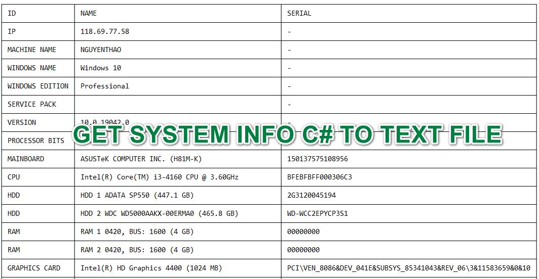 [C#] Lấy thông tin cấu hình máy tính xuất ra text file winform