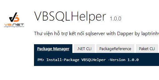 [C#] Giới thiệu thư viên VBSQLHelper Nuget làm việc với Sqlserver